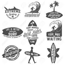 set of vintage surfing logotypes badges quotes and emblems