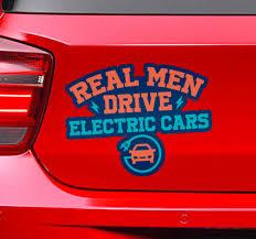 Real Men Drive Electric Cars Car Sticker Tenstickers