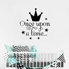 Once Upon A Time Wall Stickers Fairytale Quote Decal Girls Bedroom Decor Vinyl Wall Decals Princess Crown Sticker Nursery Zb617 Wall Stickers Aliexpress