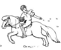 Jongen Zaait Zaad Terwijl Hij Rijdt Op En Pony Kleurplaat Gratis