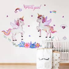 Cute Unicorn Wall Sticker Green Palm Leaf Flamingo Removable Wall Decals Diy Kids Room Living Bedroom Home Decor Pvc Art Murals Wall Stickers Aliexpress