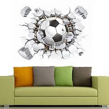 3d Soccer Ball Football Broken Go Out Of The Wall Vinyl Wall Stickers Soccer Champion Peel And Stick Vin Wall Stickers Murals Vinyl Wall Stickers Wall Stickers