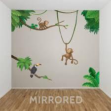 Jungle Monkey Children S Wall Sticker Set Jungle Wall Stickers Baby Room Paintings Jungle Wall Mural