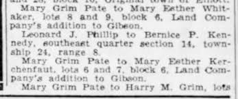 Pate, Mary Grim; land; The Pantagraph, Aug. 1, 1941, Fri. page 12 -  Newspapers.com