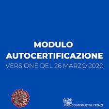 Nuovo modello autocertificazione - 26 marzo 2020 - Confindustria ...