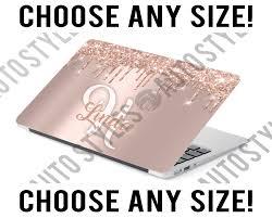 Custom Monogram Laptop Skin With Name Decal Sticker Rose Gold Tablet Skin Faux Glitter Drip Vinyl Cover In 2020 Laptop Monogram Custom Laptop Skin Custom Monogram