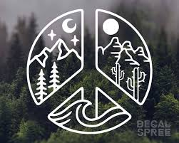 Decal Elemental Peace Vinyl Decal Mountain Decal Peace Etsy