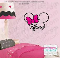Personalized Minnie Mouse Signature Name W Bow Vinyl Wall Decal Nursery Disney Ebay