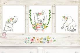 3 Boho Elephant Baby Name Wall Art Print Nursery Baby Girl Room Set Lo Pink Forest Cafe