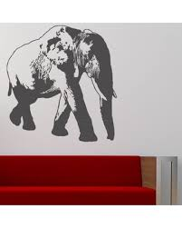 Sales For Elephant Wall Decal Style And Apply Color White Size 31 H X 33 W