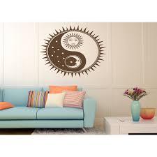 Shop Sun Moon Stars Wall Art Sticker Decal Brown Overstock 11684109