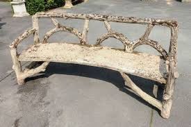 faux bois cement garden bench at 1stdibs