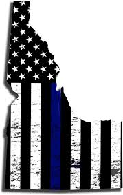 Amazon Com Tower Decals 18 X 12 Idaho State Thin Blue Line Distressed Subdued Us Flag Decal Id Tbl Police Law Enforcement Automotive