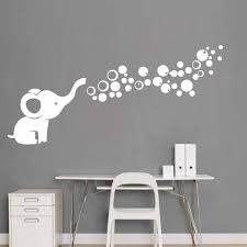Amazon Com Removable Nursery Room Wall Decor Cute Elephant Blowing Bubbles Wall Decal Art Vinyl Wall Decor Sticker For Baby Bedroom White Arts Crafts Sewing