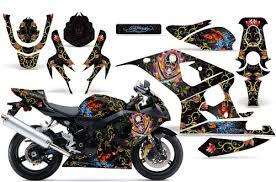 2004 2005 Suzuki Gsx R600r750 Amrracing Atv Graphics Decal Kit Ed Hardy Pirates Black Your Special Deals Minh1100420146