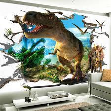 3d Wall Mural Wallpaper Custom Stereo Cartoon Broken Wall Dinosaur Backdrop Wall Covering Kid S Room Living Room Papel Mural 3 D 3d Wall Murals Murales 3 Dpapel Mural Aliexpress