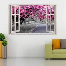 Pink Blossom Prunus Persica Trees 3d Window Wall Sticker Decal H95 Decalz Co