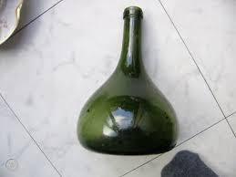 antique green glass onion bottle 1750