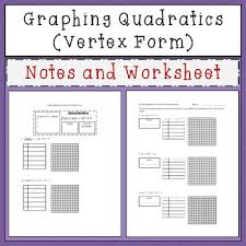 vertex form notes worksheets teaching