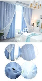 Korean Ready Made Curtain Hollow Star With Sheer Curtain Kids Room Curtain One Panel 2020 シアーカーテン 部屋 遮光カーテン