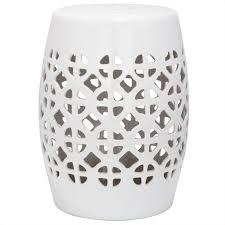 lattice ceramic garden stool in white