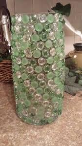 hot glue glass gems to glass vase