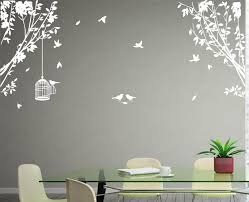 Large Side Wall Tree Branch Birds Art Vinyl Wall Transfer Sticker High Quality White Diy Wall Decals Vinyl Wall Tree Bird Wall Decals