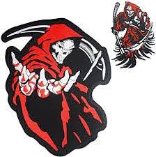 Amazon Com Grim Reaper Skull Red Hood Small Large Embroidered Back Patches For Motorcycle Jacket Biker Vest Set Of 2 Arts Crafts Sewing