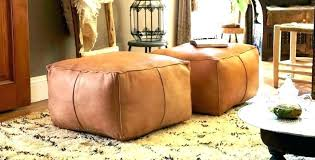 light brown leather cocktail ottoman