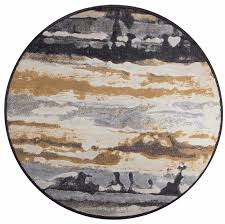 scenery round rug in navy tan white