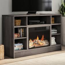 tv stand console with media shelves