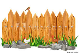 Cartoon Rural Wooden Fence In Green Grass And Stones Roosters Vector Illustration Vector Buy This Stock Vector And Explore Similar Vectors At Adobe Stock Adobe Stock
