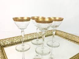4 vintage gold rimmed wine glasses