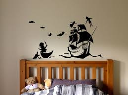 Peter Pan And Pirate Ship Wall Decal Cartoon Wall Peter Pan Wall Stickers Nursery Wall Stickers