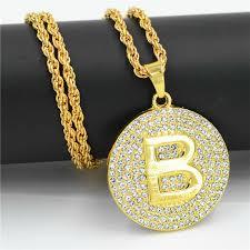 letter d necklace gold color long