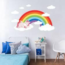 Cartoon Sleep Unicorn Rainbow Kids Room Bedroom Vinyl Decal Nursery Wall Sticker Ebay