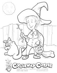 Amazing Free Printable Halloween Coloring Sheets Picture Inspirations Sheet Girl Witch And Cat Approachingtheelephant