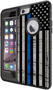 Amazon Com Teleskins Protective Designer Vinyl Skin Decals Stickers Compatible With Otterbox Defender Iphone 6 Iphone 6s Case Thin Blue Line Usa Police Flag Design Patterns Only Skins And Not Case