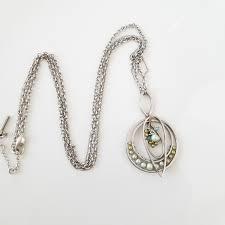 pearls silver medallion pendant