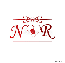 nr love initial with red heart and rose