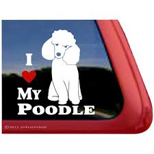 I Love My Poodle High Quality Vinyl Sitting Poodle Window Decal Walmart Com Walmart Com