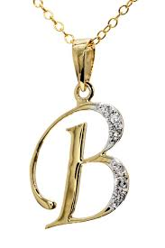 letter b gold with diamonds necklace