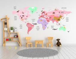 Nursery Animal World Map Decal Pink World Map Nursery Room Decor Walls2lifedecals