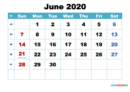 Free June 2020 Desktop Calendar High ...