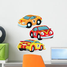 Cute Racing Cars Wall Decal Sticker Set Wallmonkeys Com