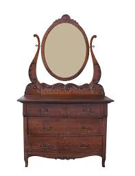 antique dresser with mirror isolated