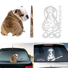 Cute Bulldog 3d Car Sticker Cat Moving Tail Wiper Window Dog Car Decal Rear Windshield Vinyl Car Wrap For Car Accessories Car Stickers Aliexpress