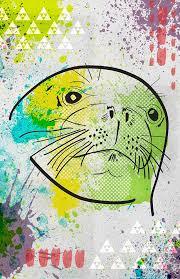 Amazon Com Sea Lion Poster Great For A Kids Room Pop Art Illustration Cartoon Style Cute Marine Illustration Aquatic Handmade