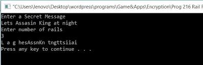 All C Programs Program 216 Rail Fence Cipher Using C