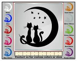 Decaldoggy Cats Silhouette In The Moon Vinyl Decal Car Wall Ebay